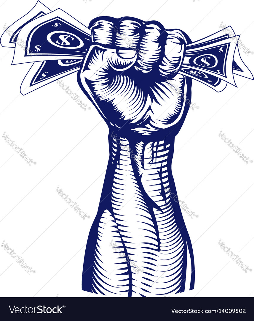 Fist holding up money vector image