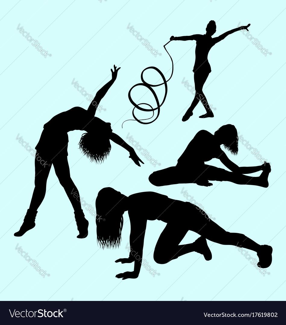 Gymnastic sport activity silhouette