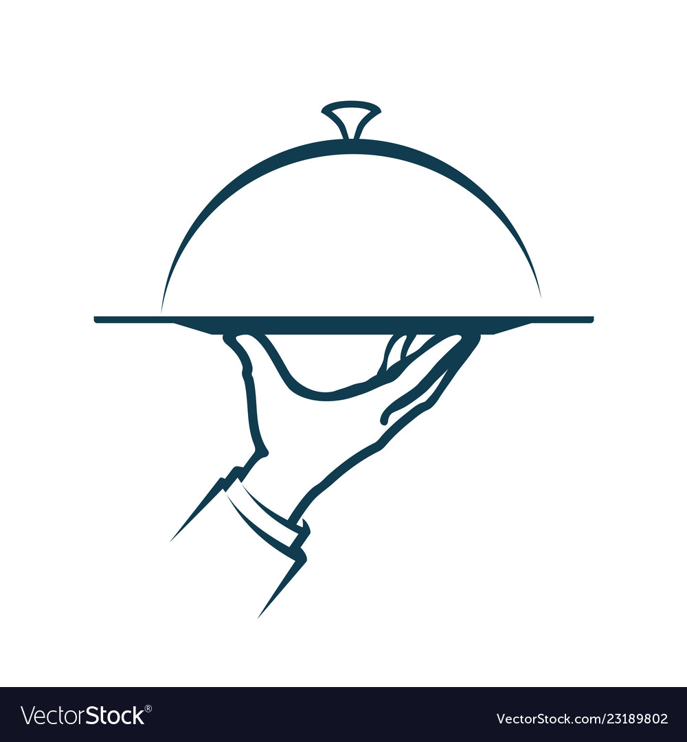 Hand holding a tray menu service logo