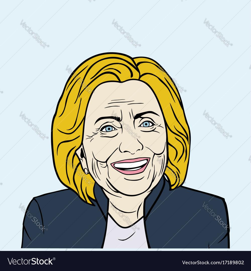 Hillary clinton pop art flat design