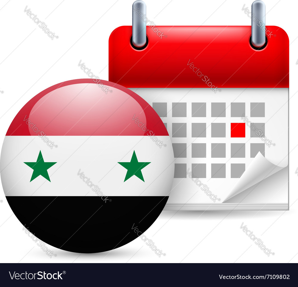 Icon of national day in syria vector image