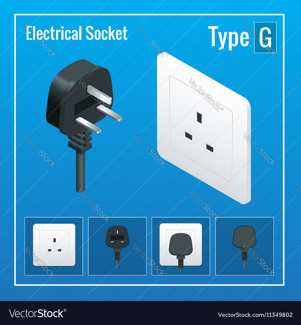 Isometric Switches and sockets set Type G AC