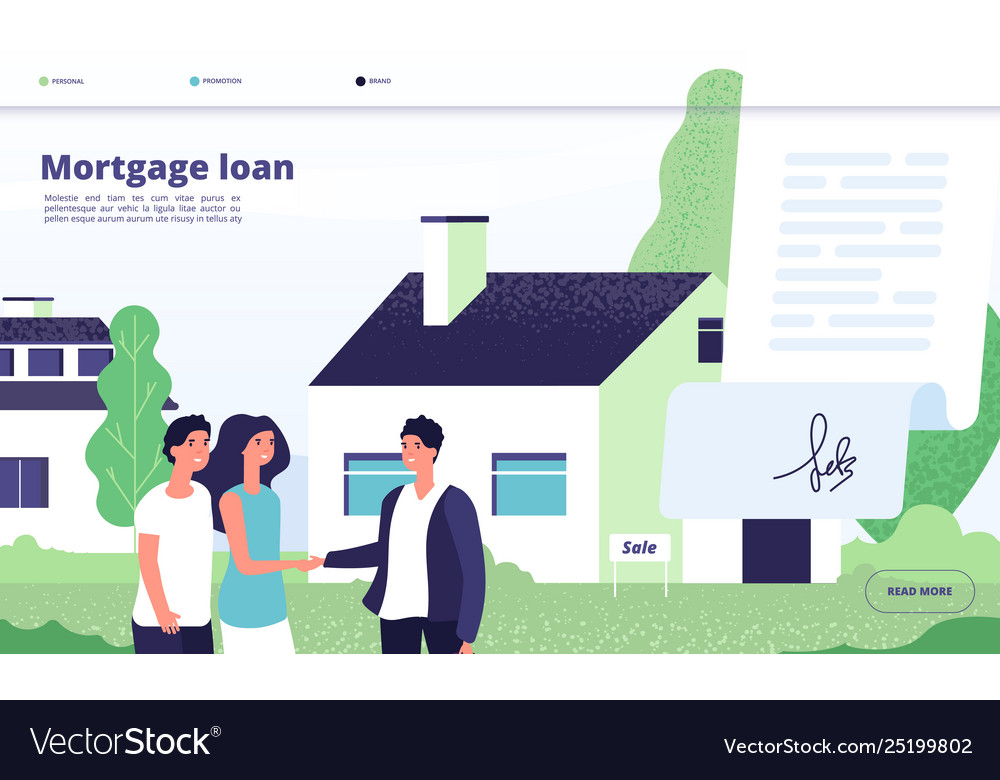 Mortgage Loan People Borrower Buy Home Property Vector Image