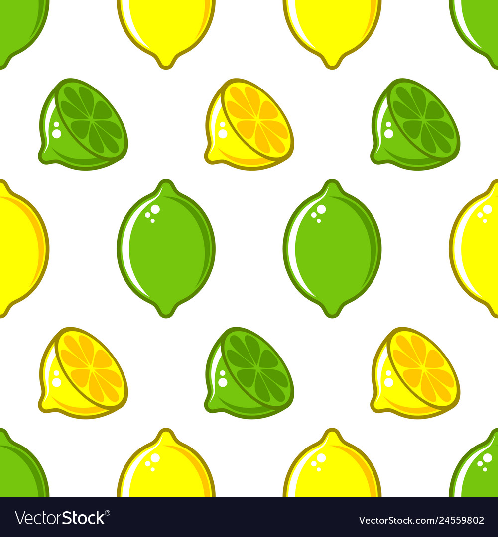 Seamless pattern with lemon and lime