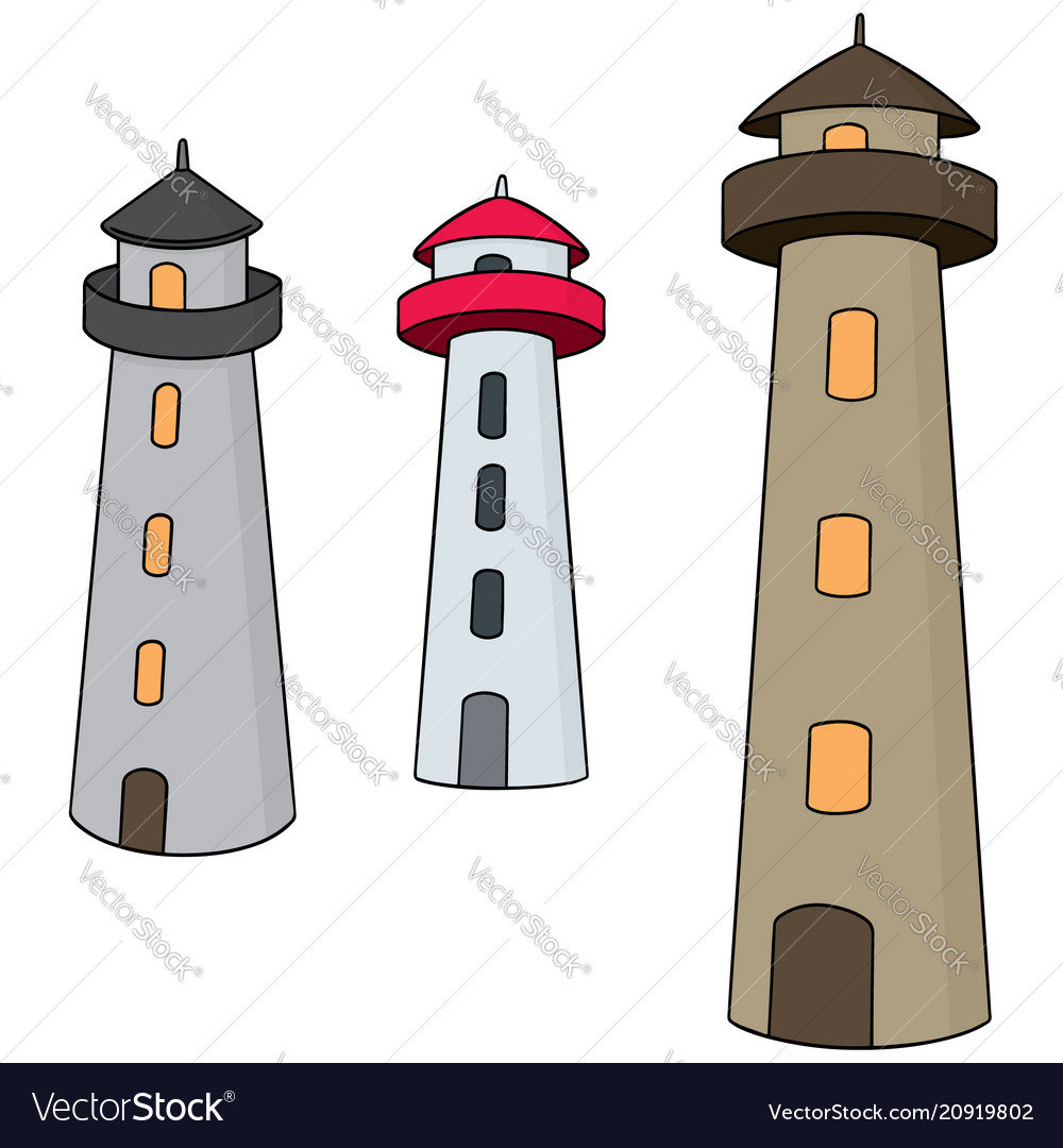 Set of lighthouse vector image