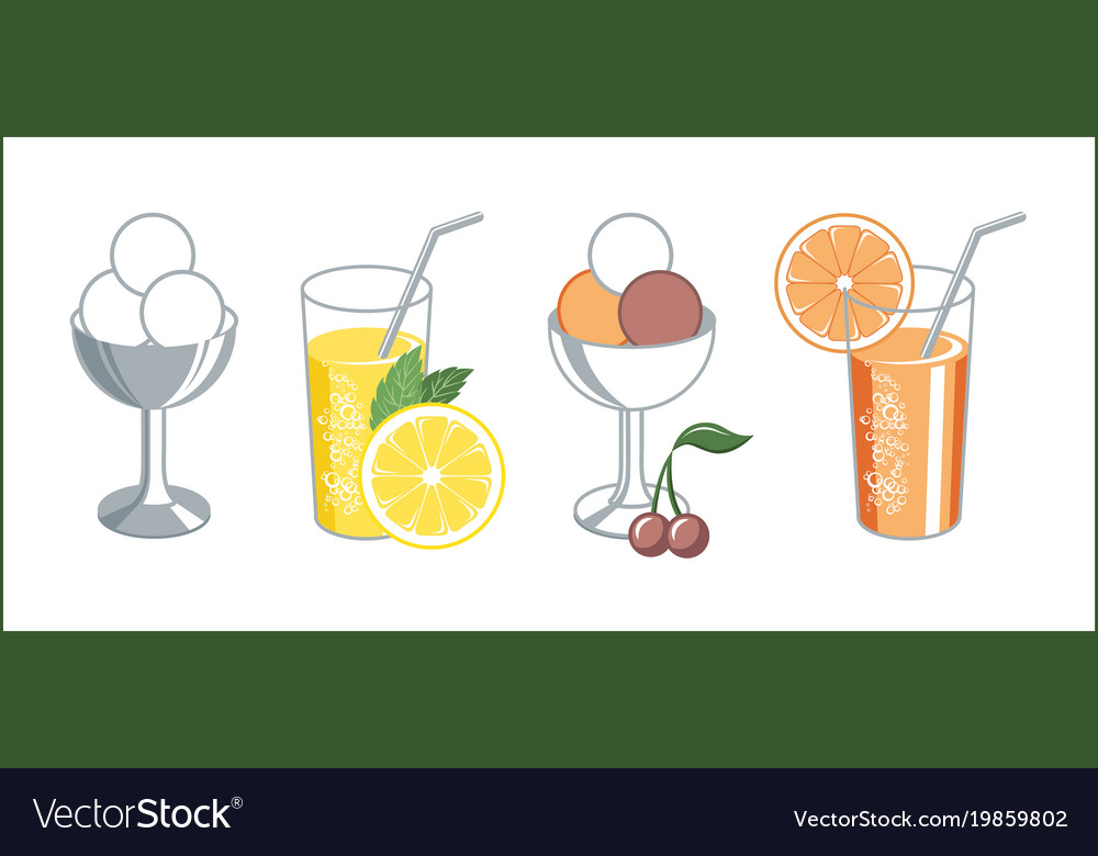 Set of retro icons of lemonade and ice cream