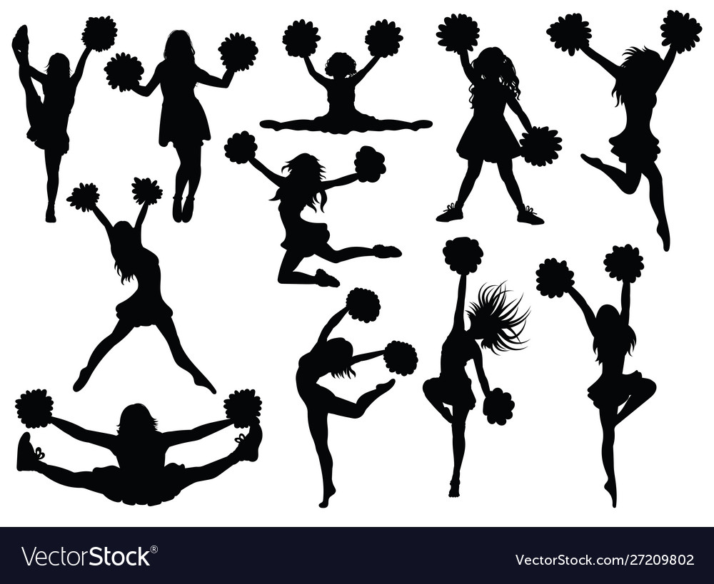 Set silhouette cheerleaders collection of