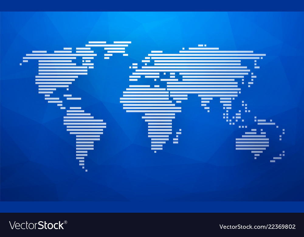 simple world map made up of white stripes on a vector image