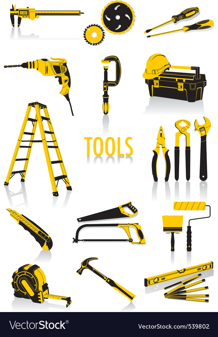 Tools silhouettes vector image