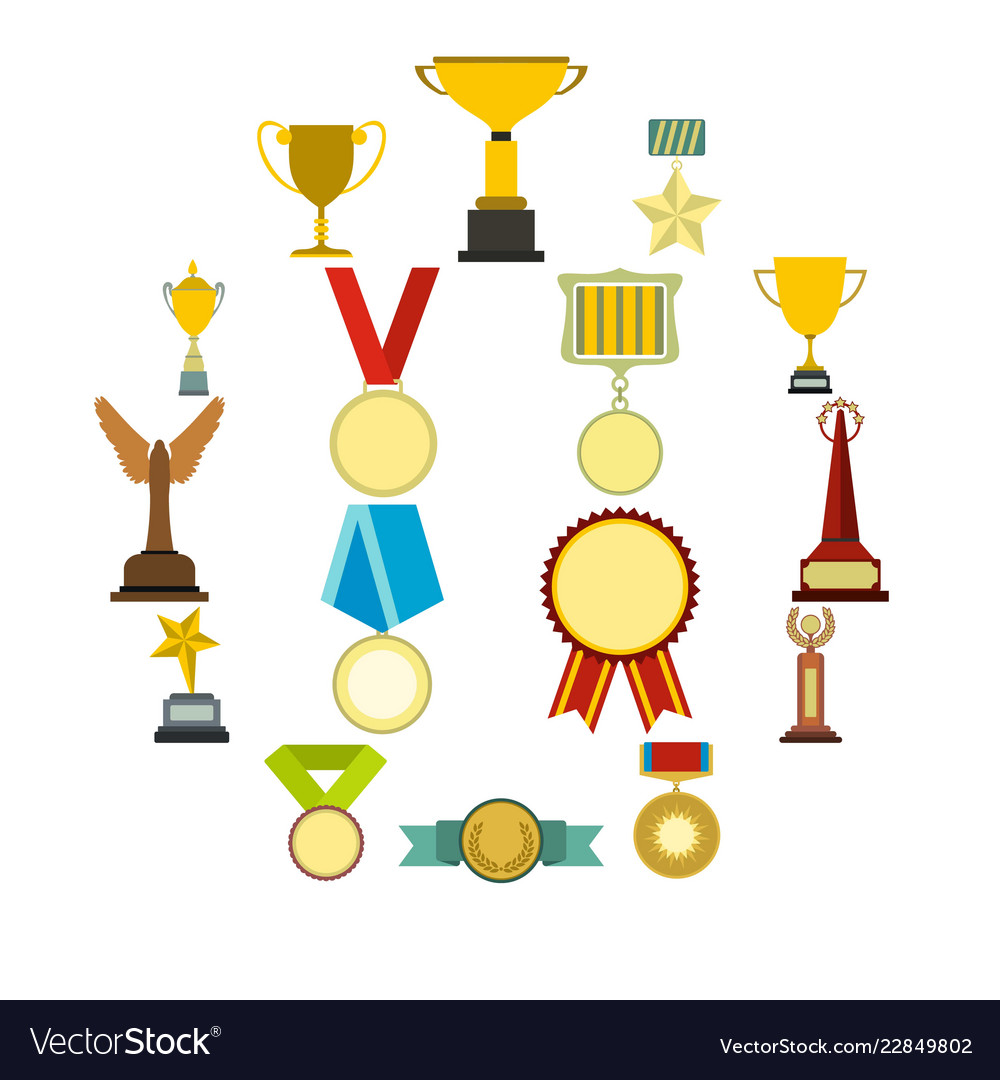 Trophy and awards flat icons set