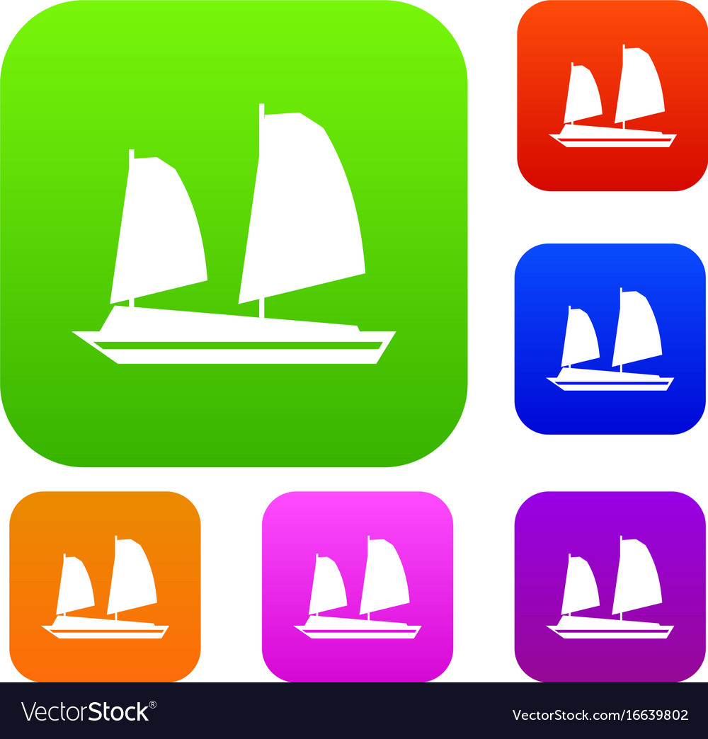 Vietnamese junk boat set collection vector image