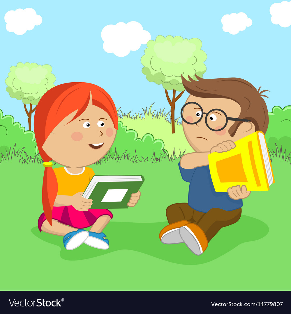 Children with books sitting on meadow vector image