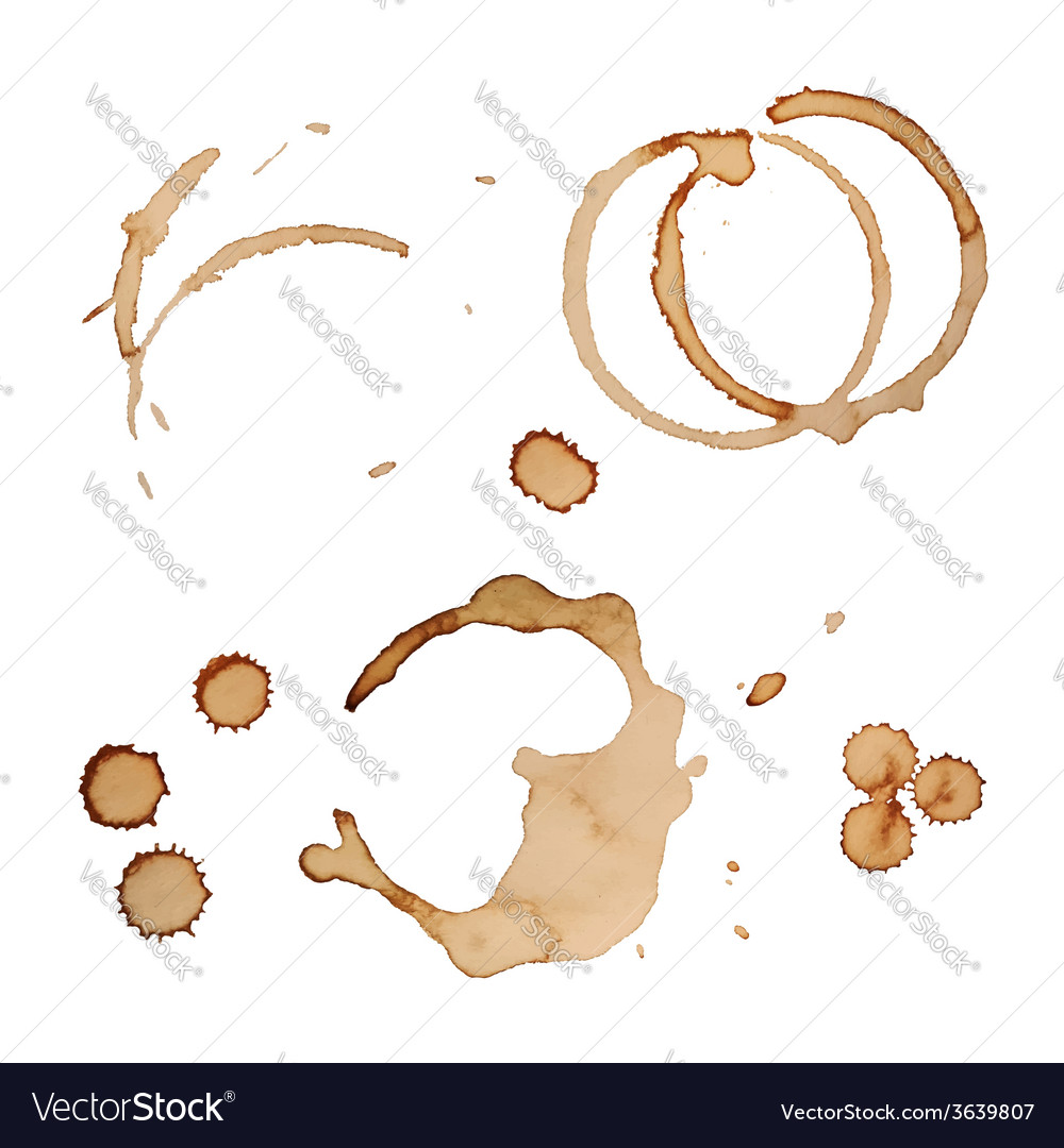 Coffee Stain Rings Set Isolated On White