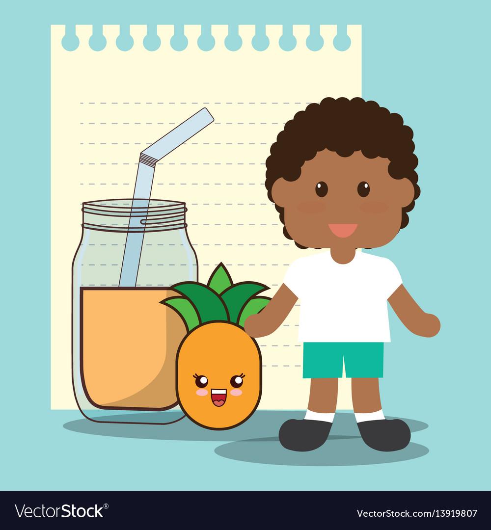 Cute boy glass jar pineapple juice vector image