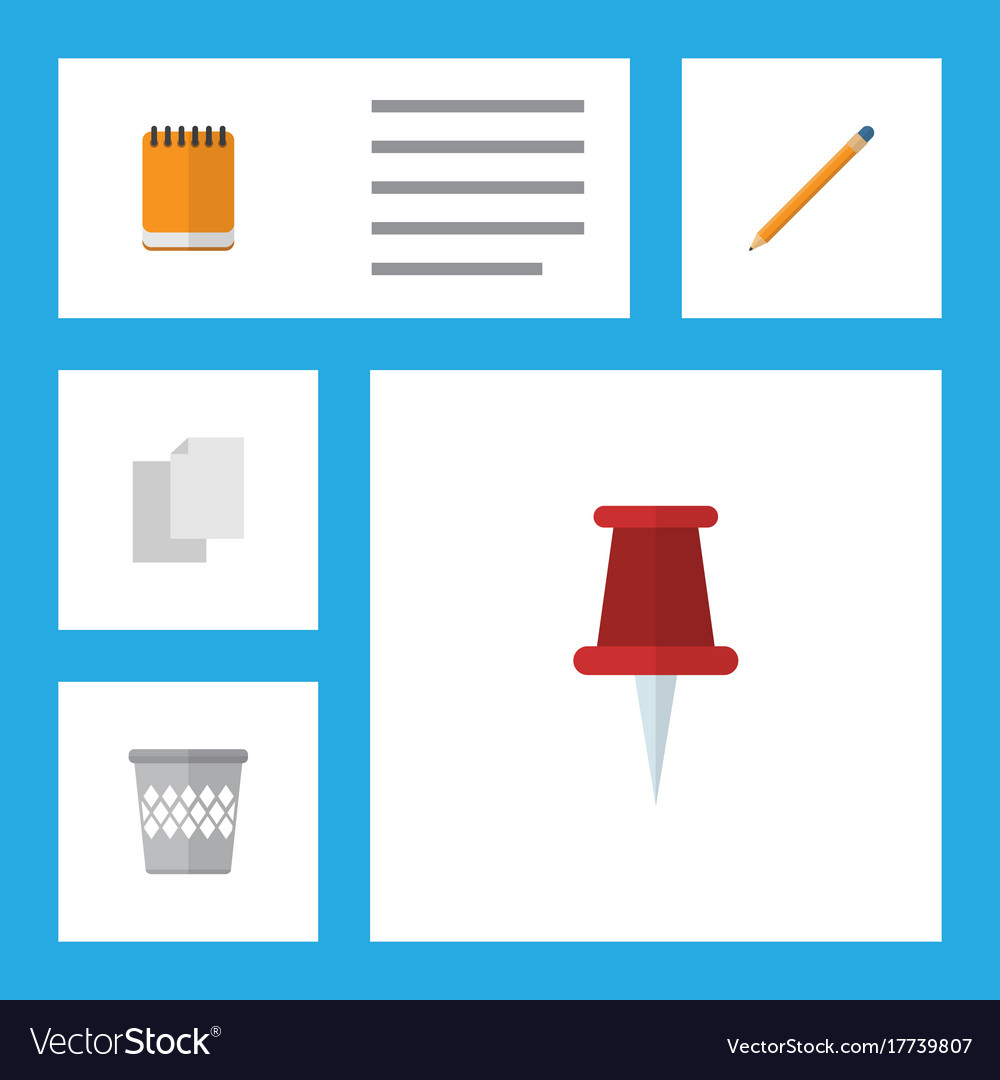 flat icon stationery set of sheets drawing tool vector image