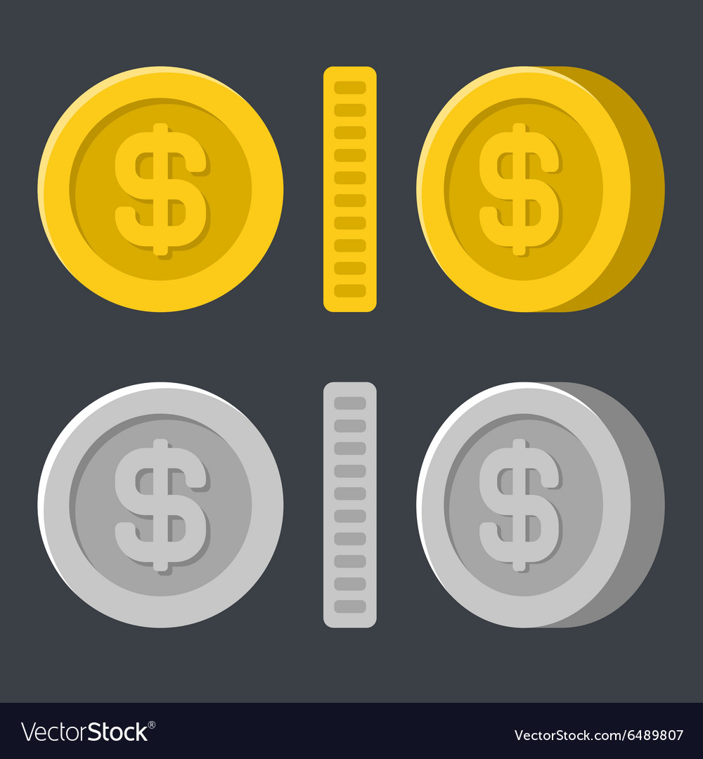 Gold and Silver Flat Style Coins Icon Set