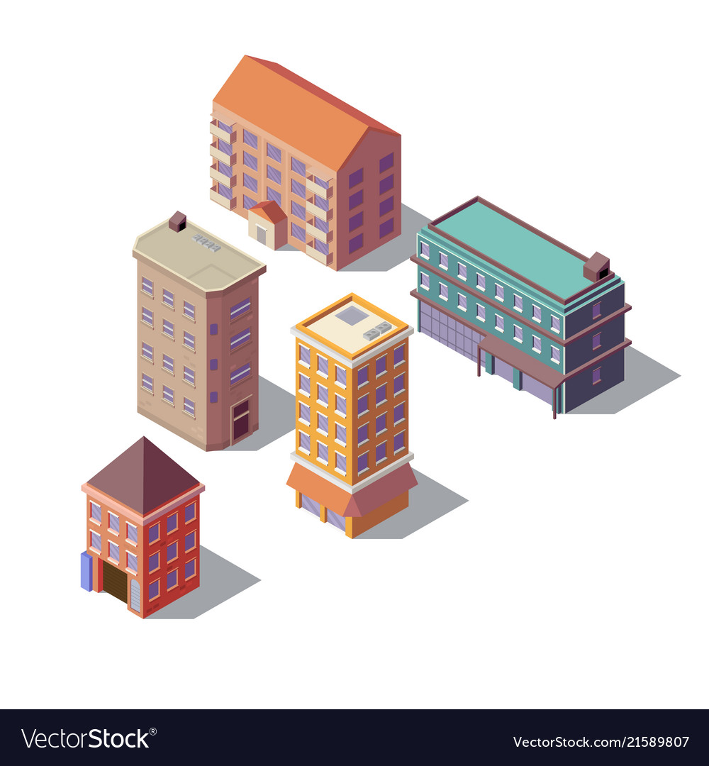 Isometric set of residential buildings