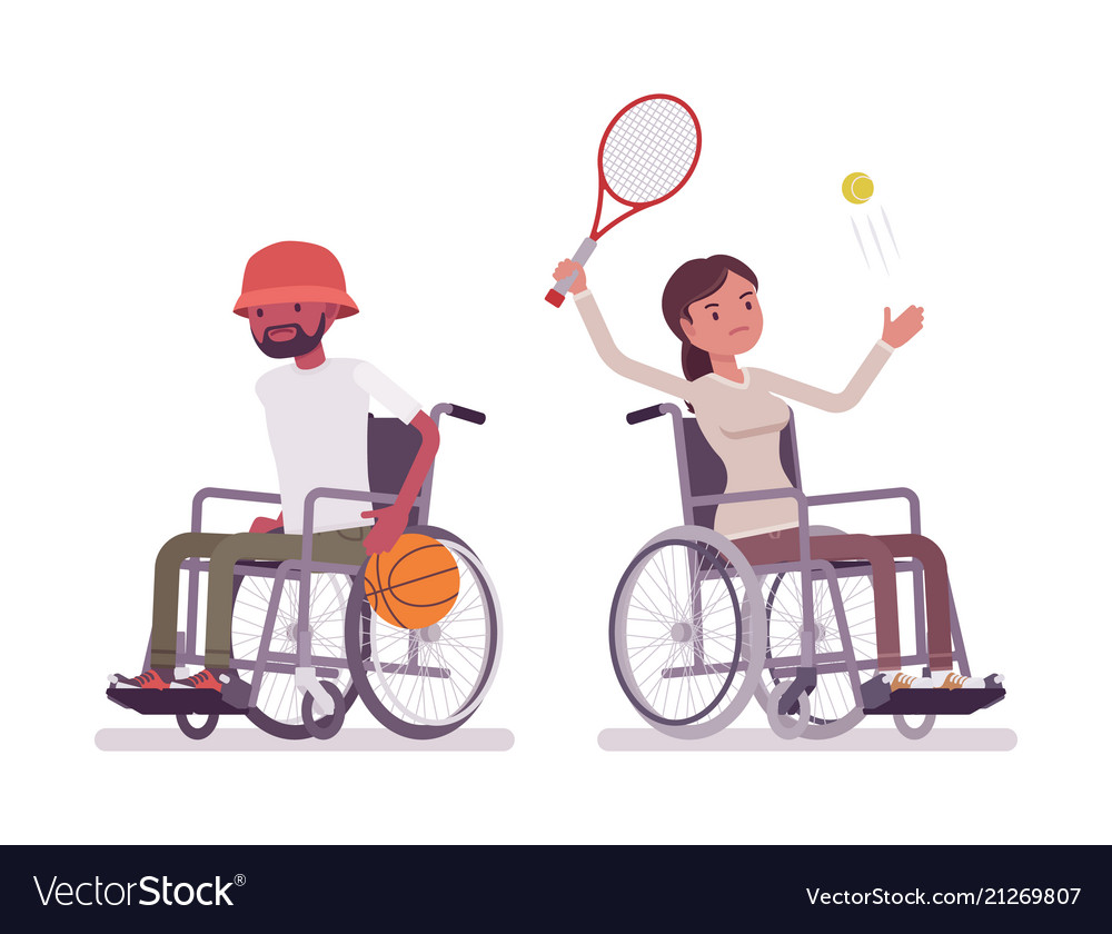 Male and female young wheelchair user at sport