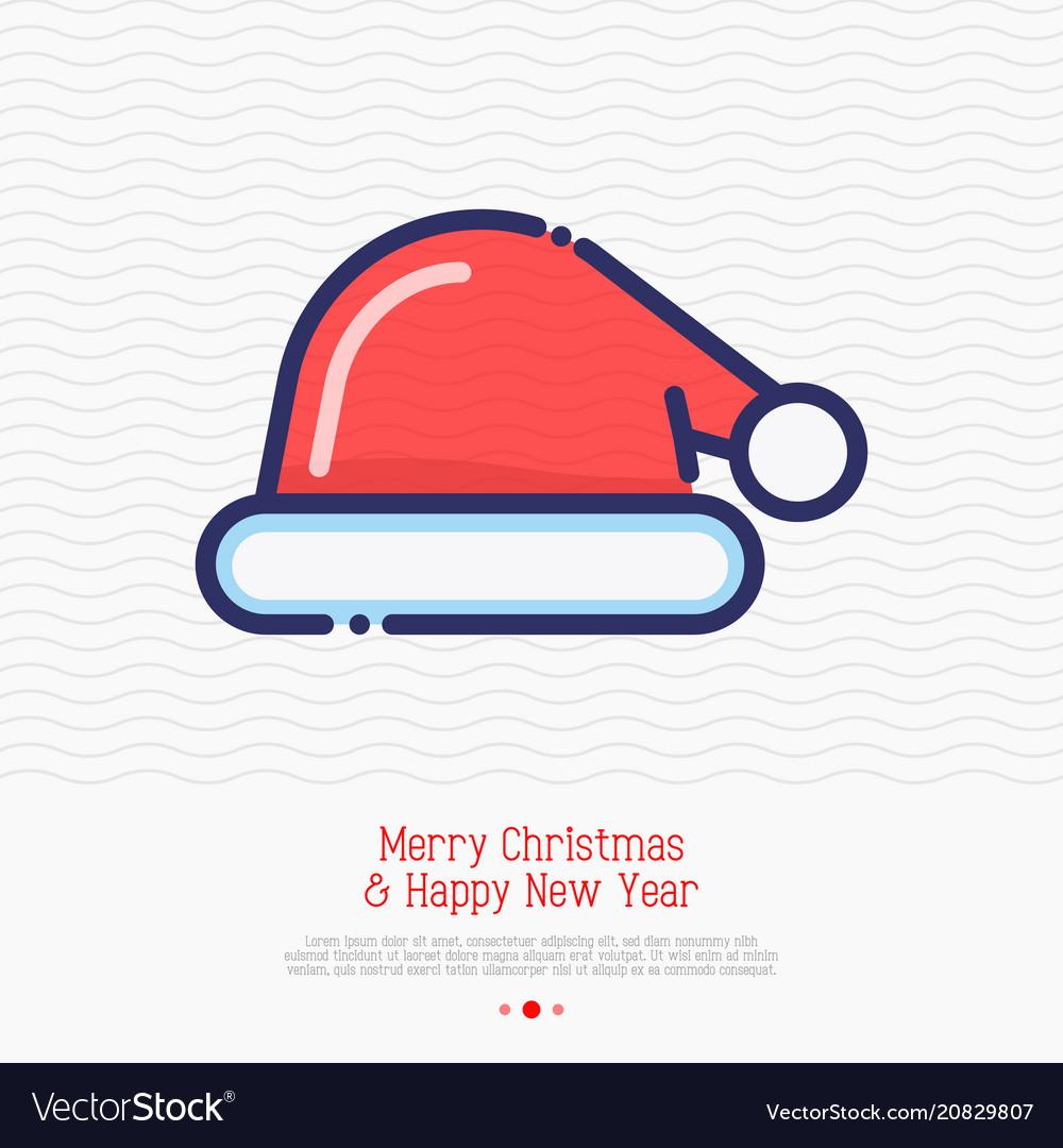 Santa hat thin line icon