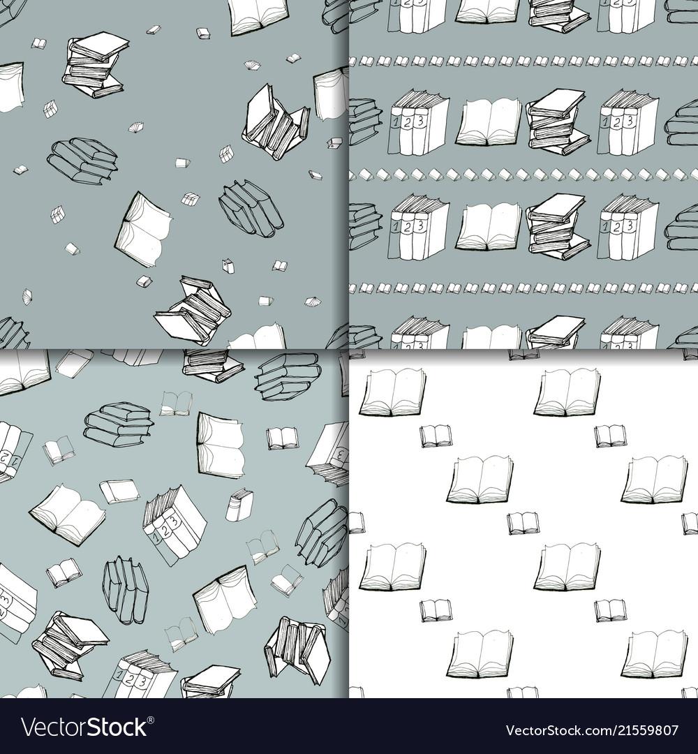 Seamless pattern set with books
