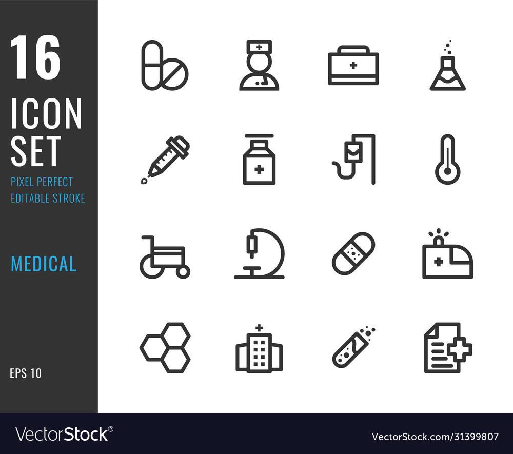 Set 16 icons medical thin line style