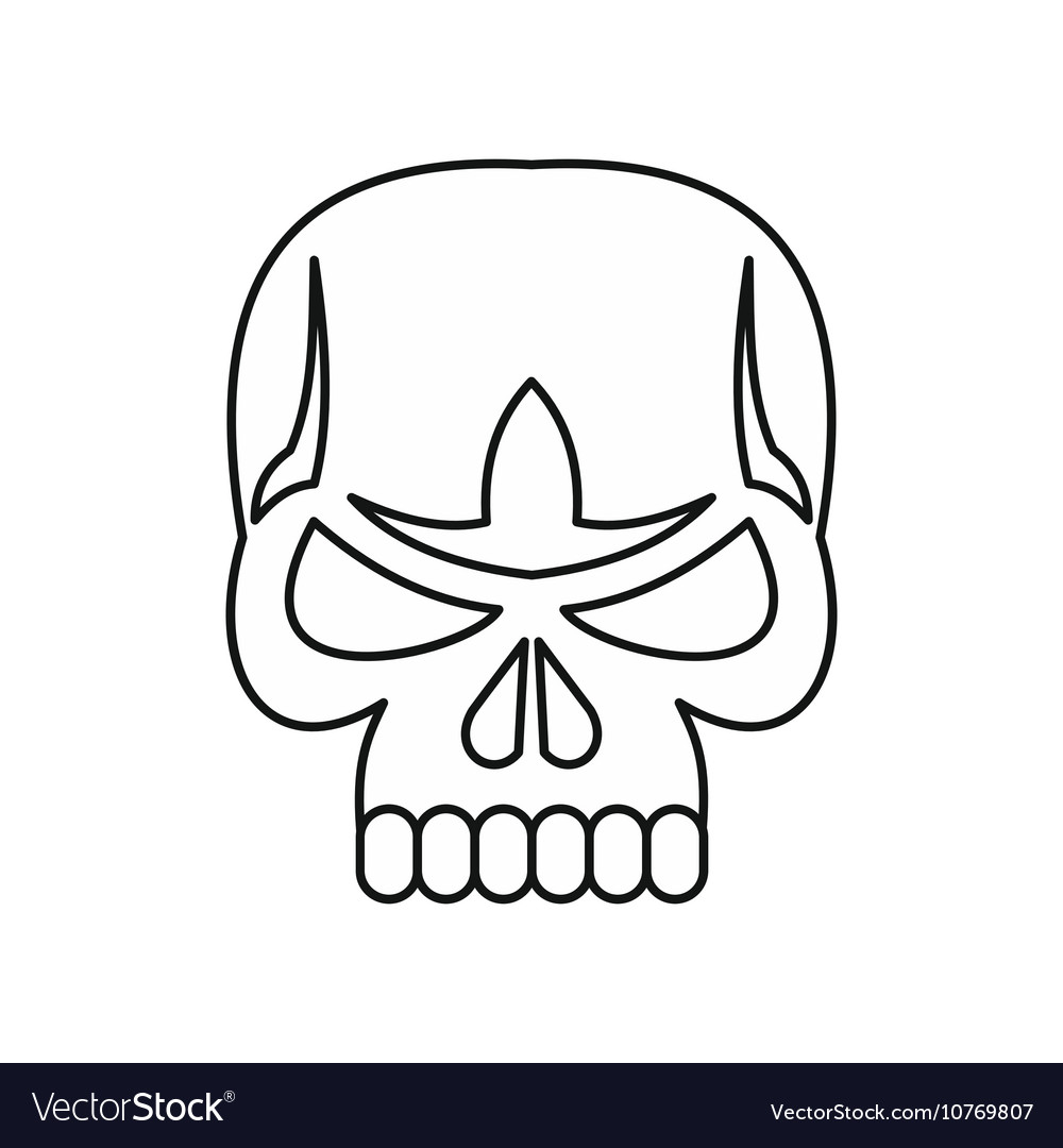 Skull icon outline style