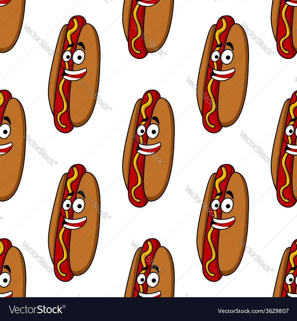 Smiling hot dog seamless pattern