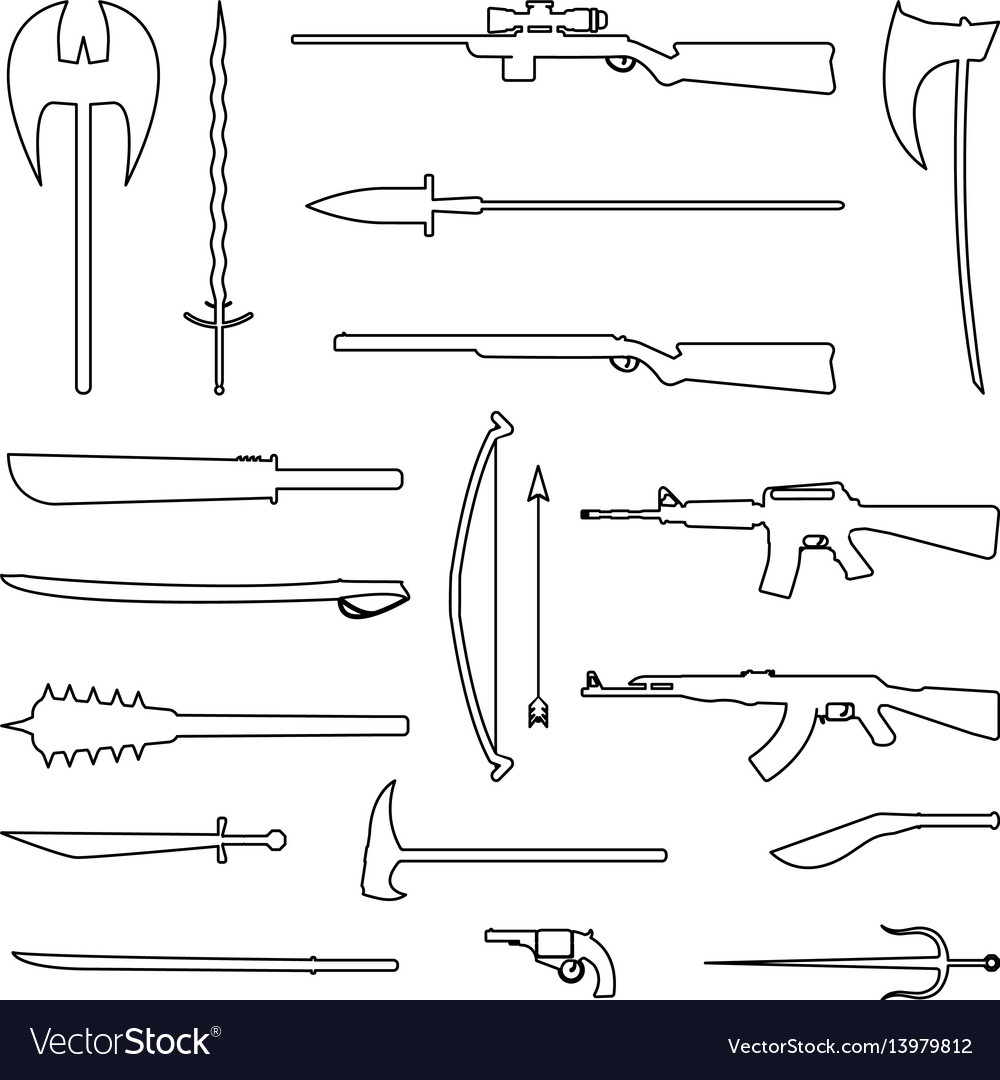 18 weapon outline icon medieval and modern