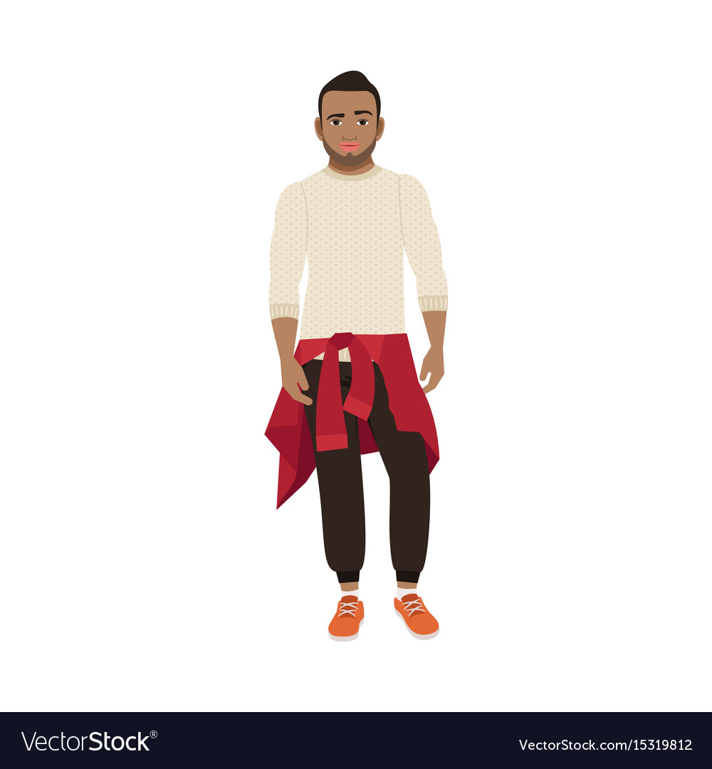 Black guy with knitted sweater vector image
