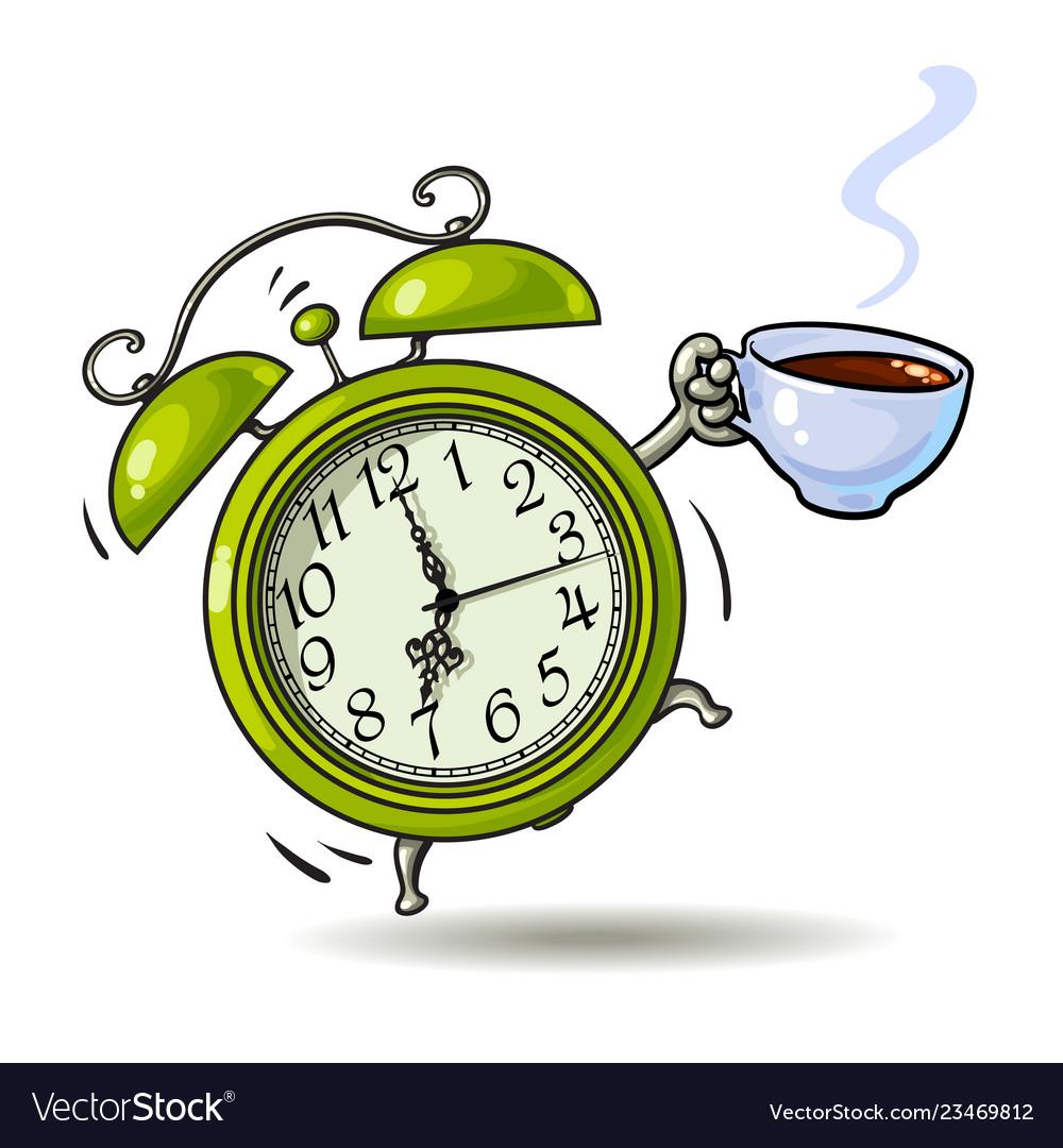 Cartoon green alarm clock with cup of coffee