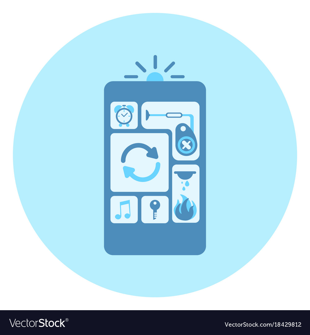 Cell smart phone icon with applications interface