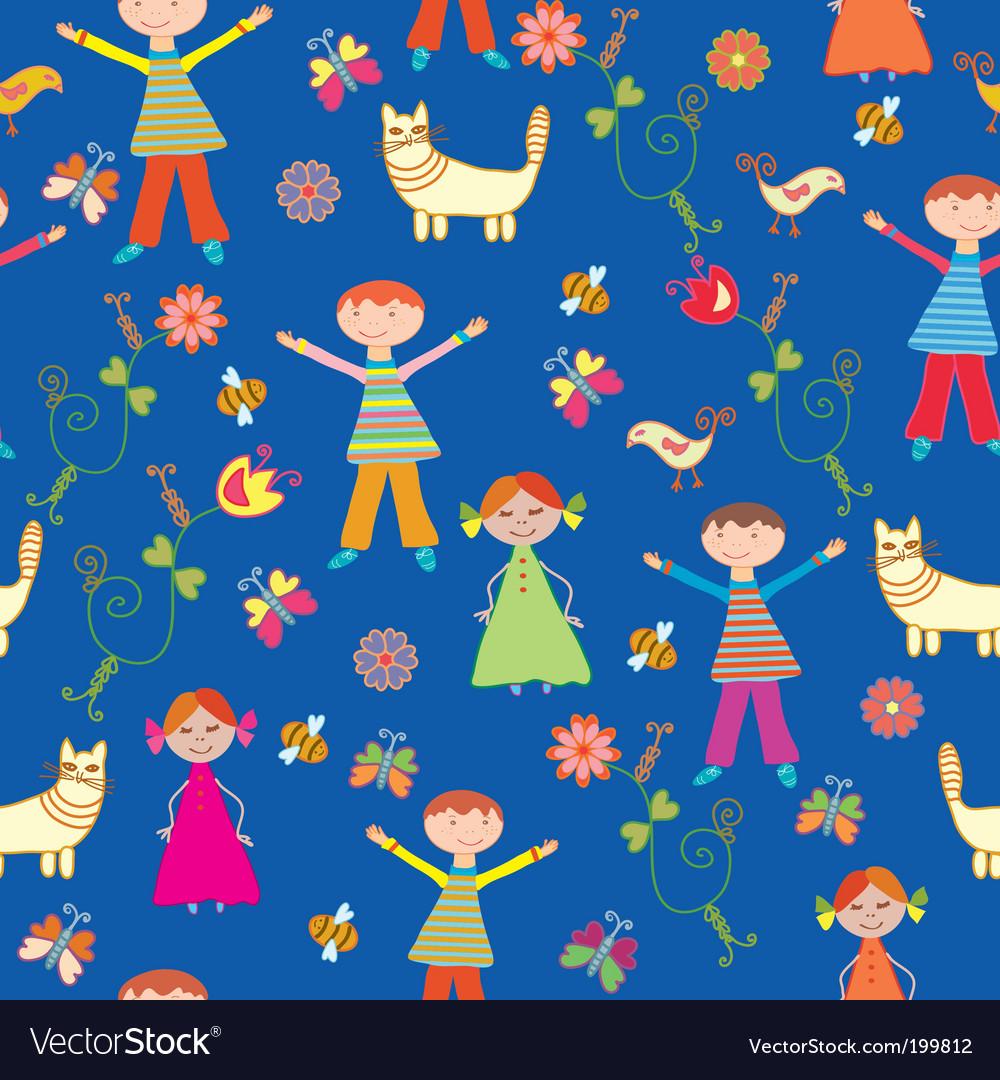 Children's wallpaper pattern vector image