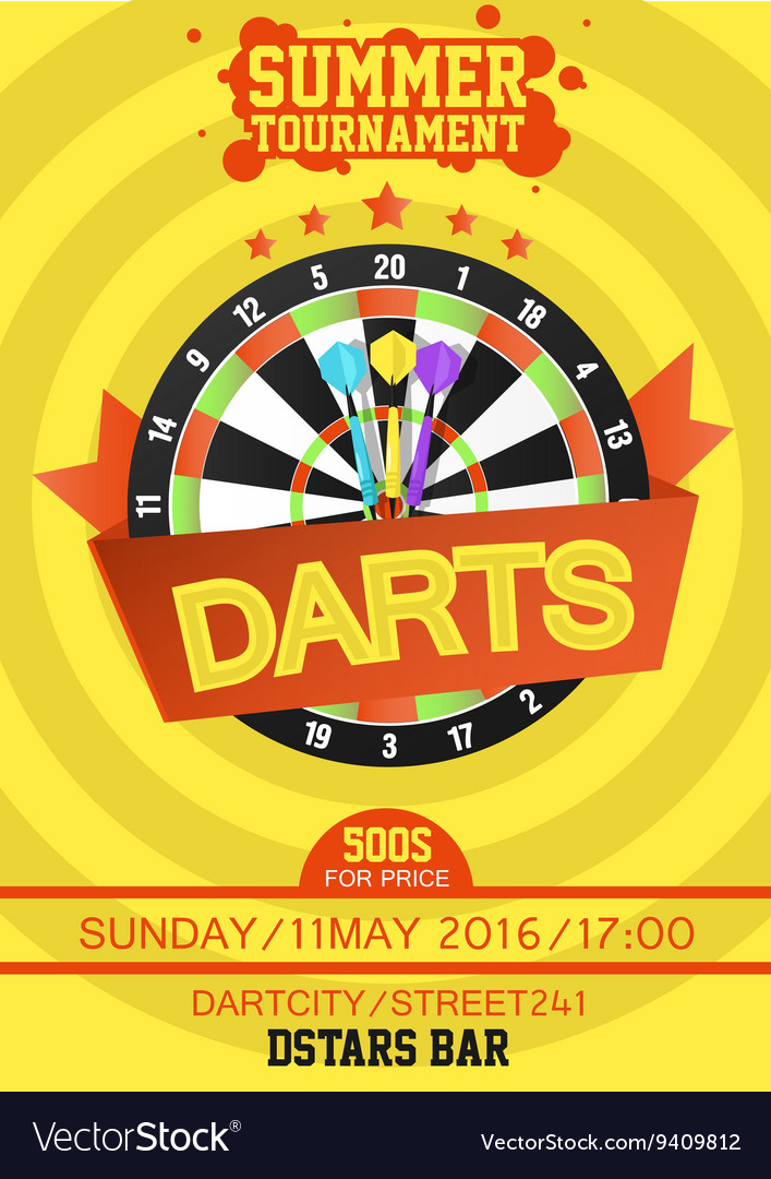 Colorful Poster Template For Darts Royalty Free Vector Image