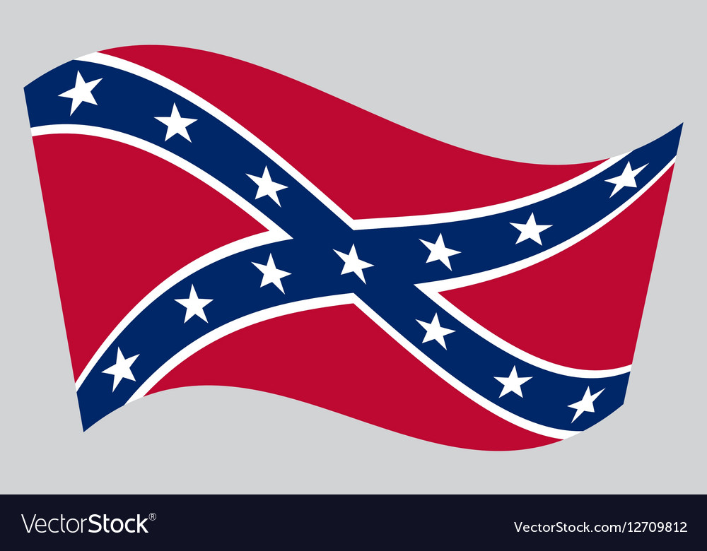 Confederate rebel flag waving on gray background
