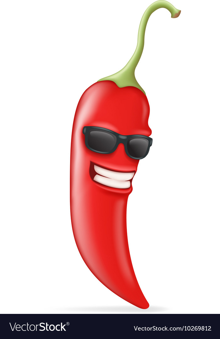 Cool Hot Chili Pepper Sunglasses Happy Character vector image