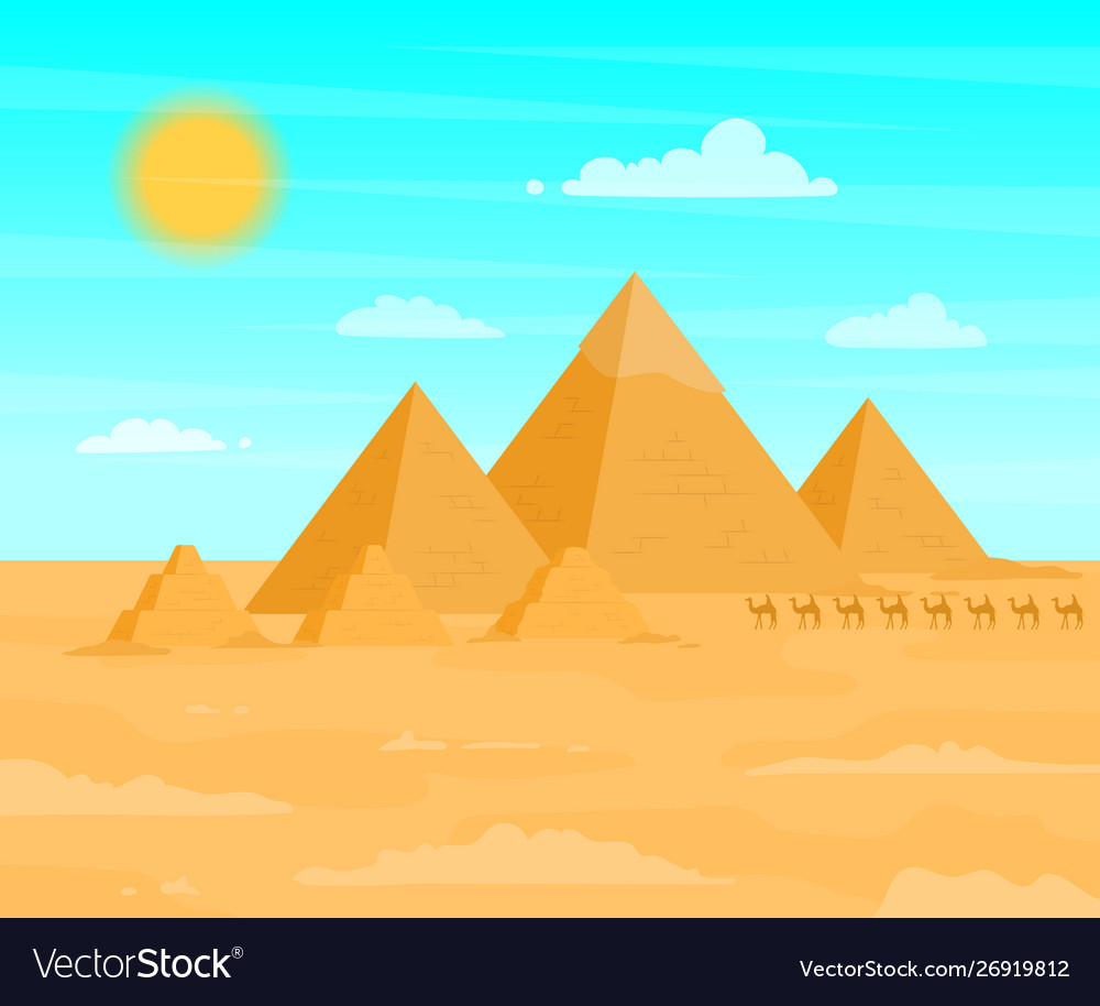 Egyptian pyramids travel and tourism concept on a