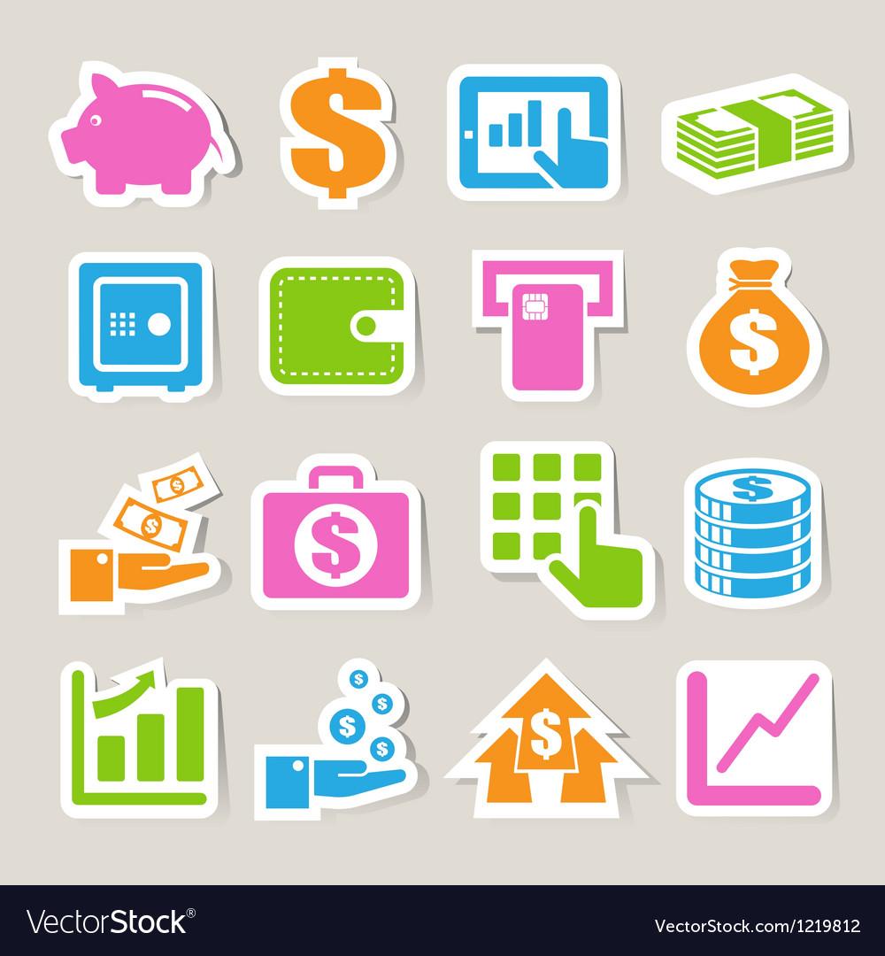 Finance money sticker icon set
