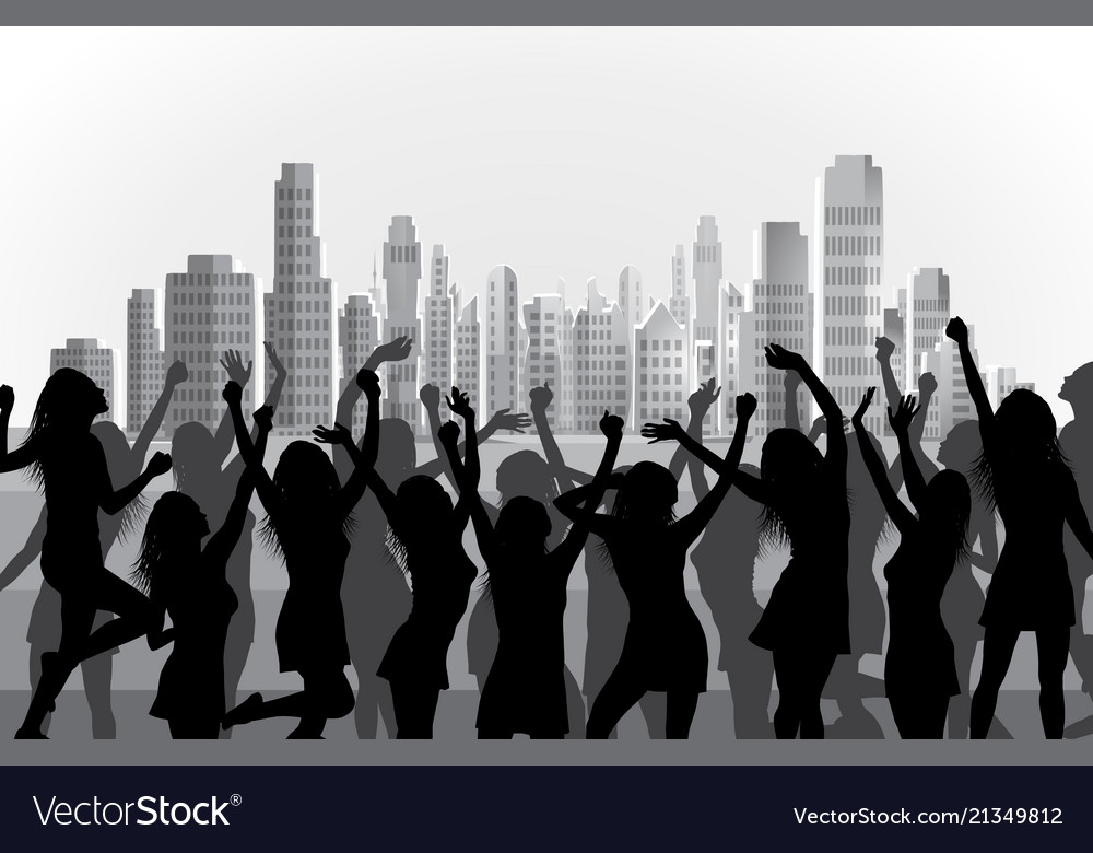 Happy dancing women silhouettes on city background