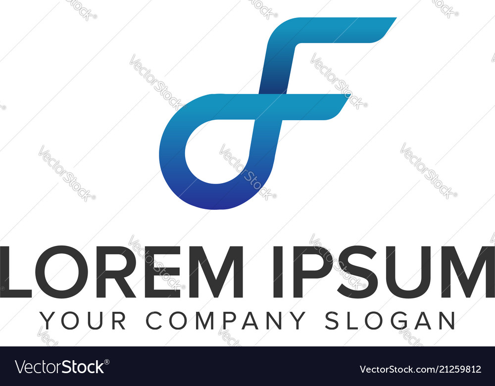 Letter d and f logo design concept template fully