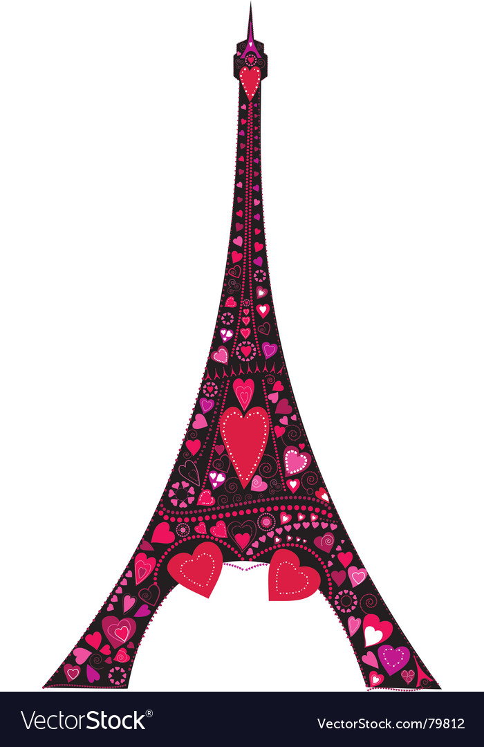 Love in eiffel tower silhouette vector image