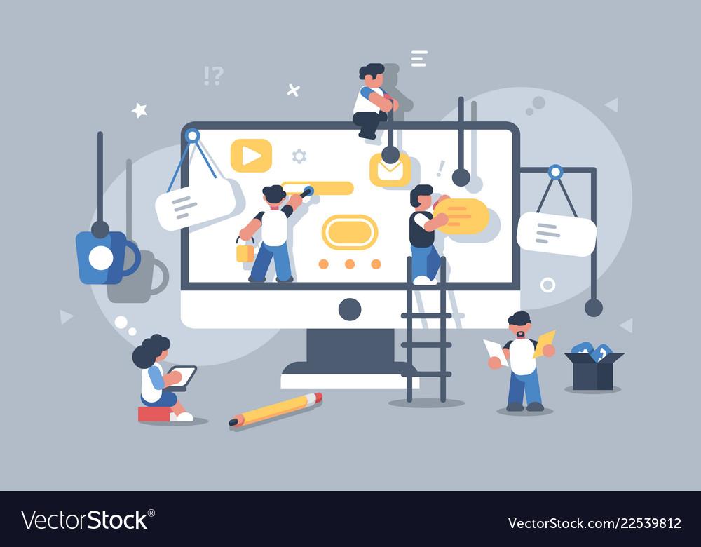 Team of people building or designing computer app