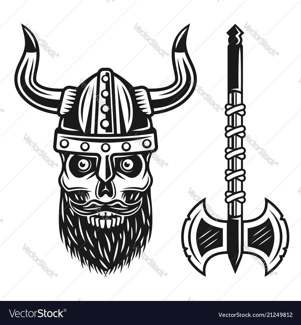 Viking bearded skull in helmet and double axe
