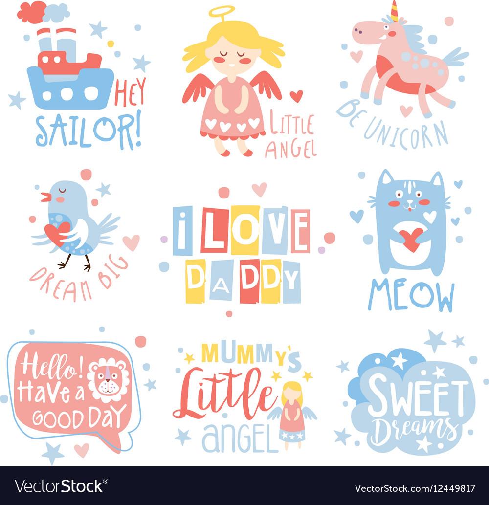 Baby Nursery Room Print Design Templates Set In