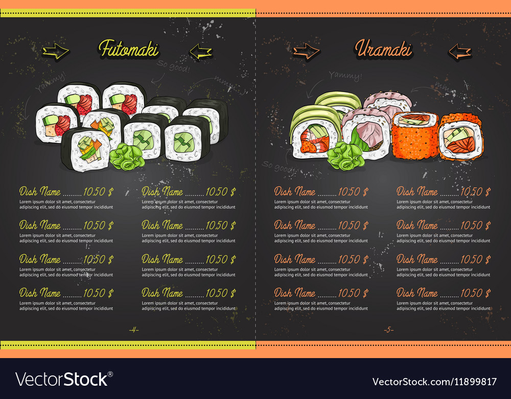 Color horisontal sushi menu