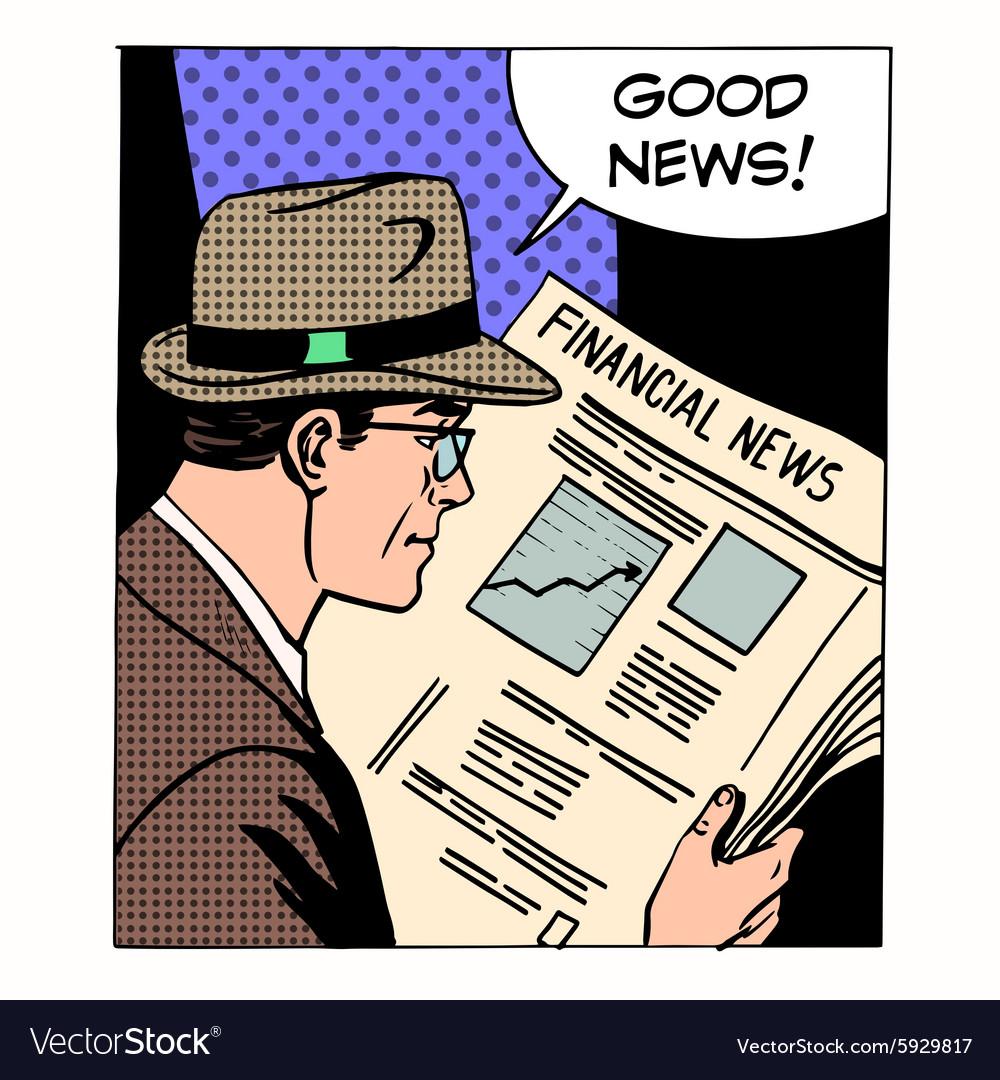 Good financial news businessman reading a