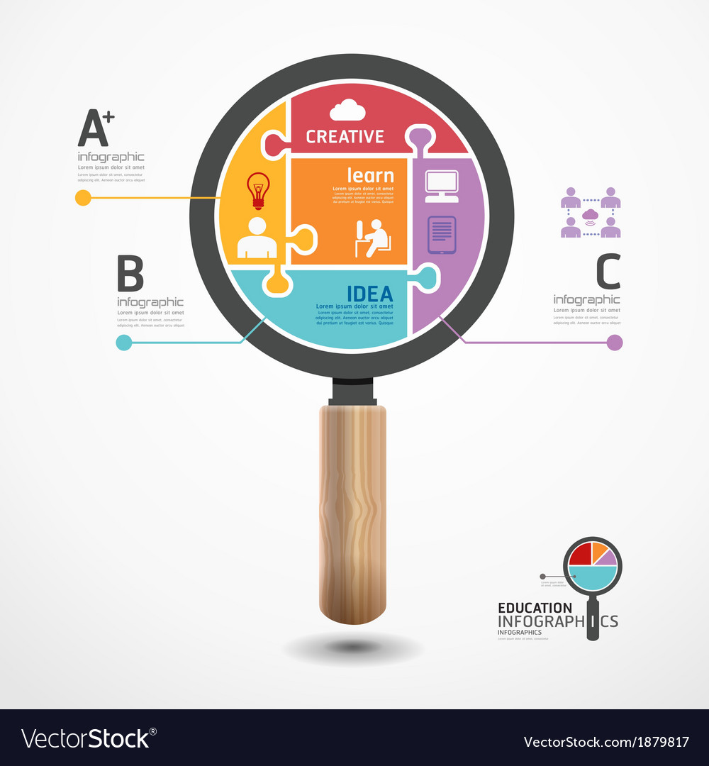 Infographic Template with magnifier jigsaw banner