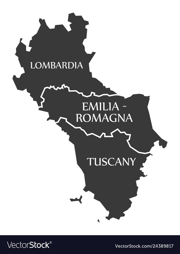 Lombardia - emilia - romagna - tuscany region map