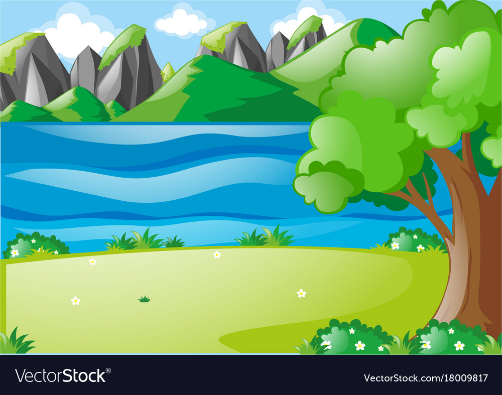 Nature scene with river and field