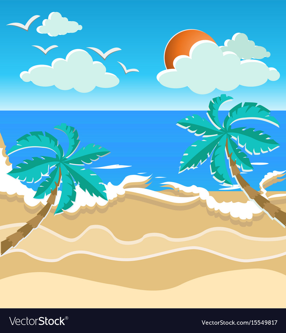 Paper art style summer time card
