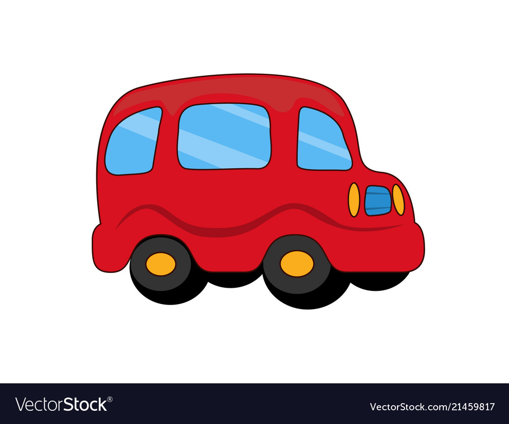 Red toy plastic car with capacious rounded salon